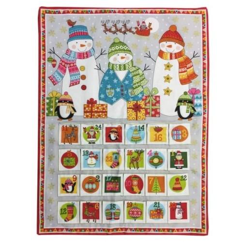 Snowmen On Grey Advent Calendar Panel