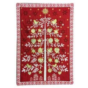 Advent calendar panel, red tree scene.