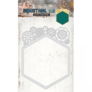 Studio Lights Industrial Hexagon Nesting dies with Cogs STENCILIN72