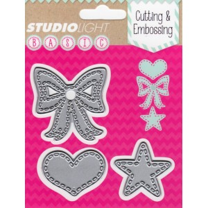 Studio Lights Bow, Heart and Star STENCILSL28