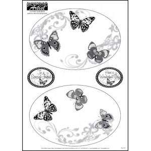 Background Artist Oval Elegant Butterflies