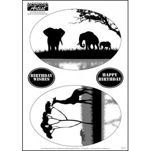 Background Artist Oval Elephant and Giraffe