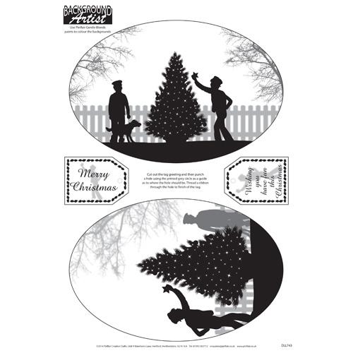 Background Artist Oval Christmas Tree