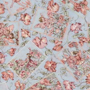 Blue Flower Fairy Fabric Panels