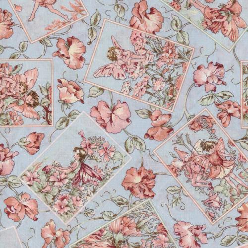 Blue Flower Fairy Fabric Panels