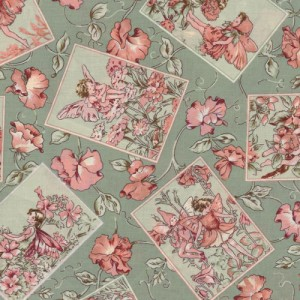 Green Flower Fairy Fabric Panels