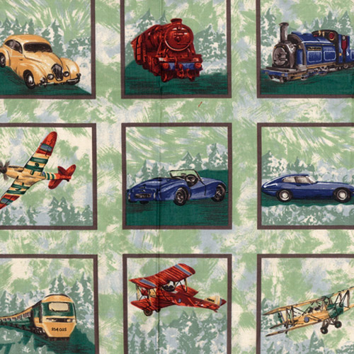 Planes, Trains, Cars Fabric Panels