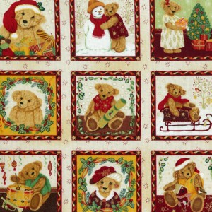 Christmas Bears Fabric Panels