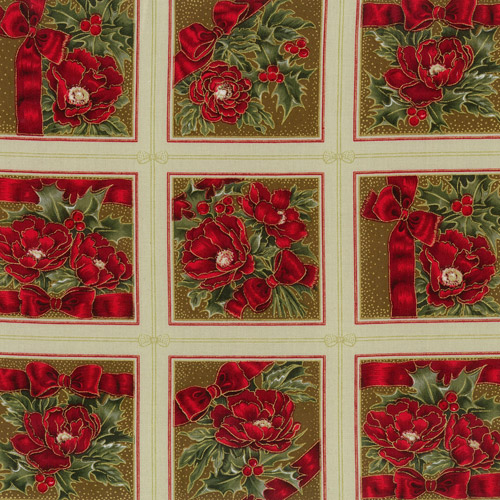 Christmas Rose Fabric Panels