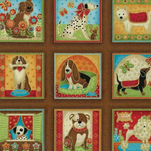 Cartoon Dogs Fabric Panel