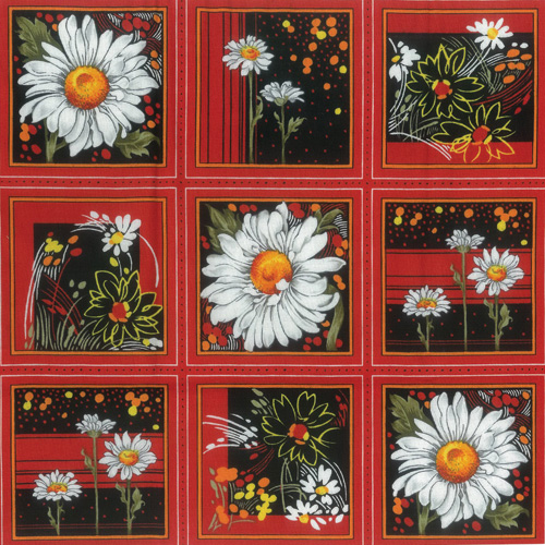 Daisy Orange Fabric Panel