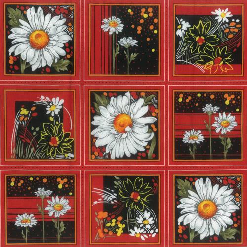 Daisy Orange Fabric Panel