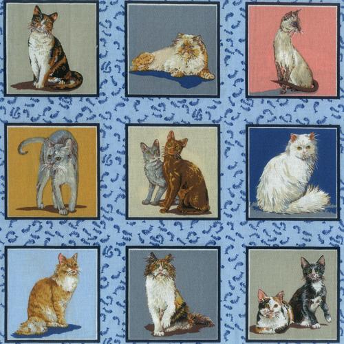 Blue Cats Fabric Panel
