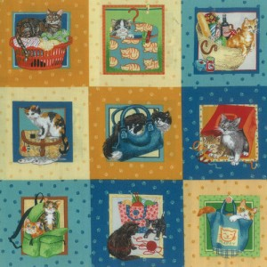 Knitting Cats Fabric Panel