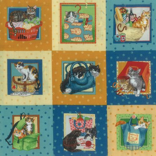 Knitting Cats Fabric Panel