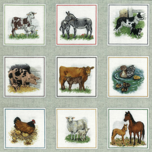 Farmyard Colour Border Fabric Panel