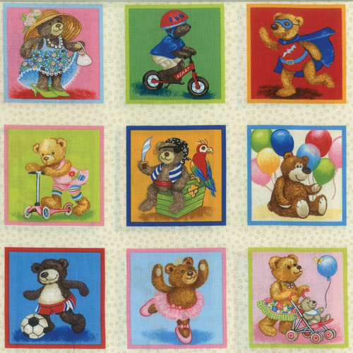 Playtime Bears Fabric Panel