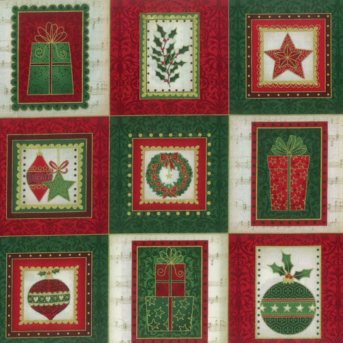 Music Christmas Fabric Panel