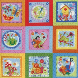 Cartoon Garden Fabric Panel