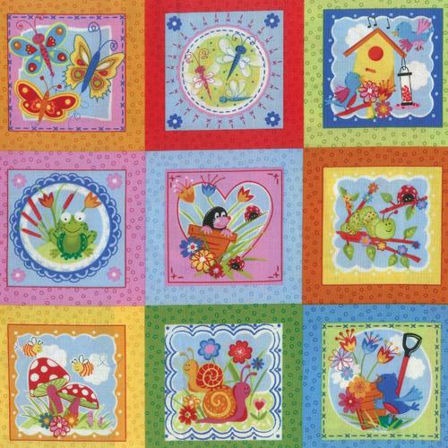 Cartoon Garden Fabric Panel