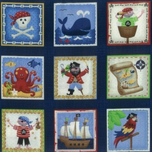 Blue Pirate Fabric Panel