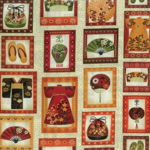 Oriental Cream Fabric Panel