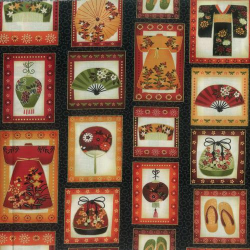 Oriental Black Fabric Panel