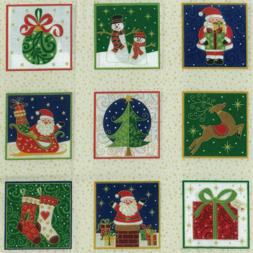 Small Santa's Fabric Panel