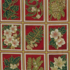 Christmas Flowers Red Fabric Panel