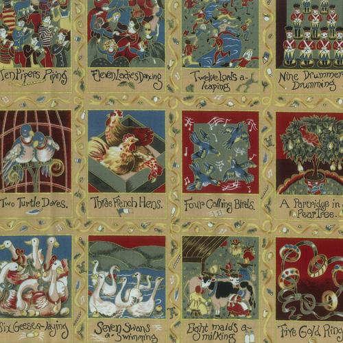 12 Days of Christmas Cream Fabric Panel