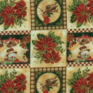 Poinsettia/Snowman Fabric Panel