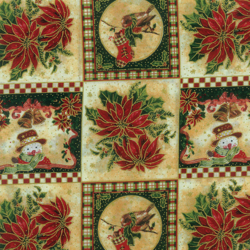 Poinsettia/Snowman Fabric Panel