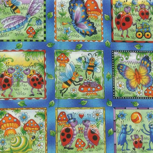 Frisky Bugs Fabric Panel