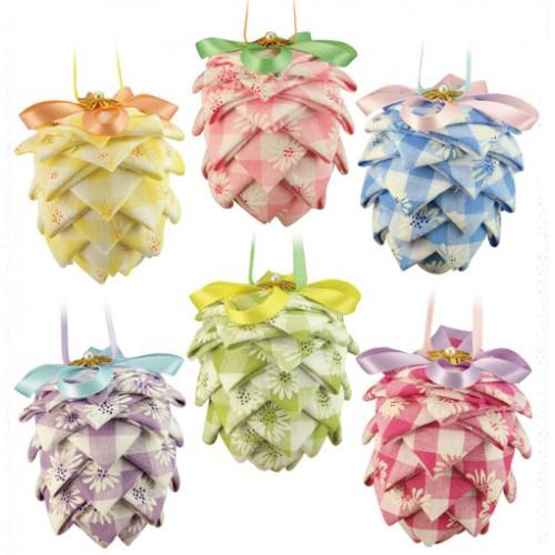 Pastel Fabric Pine Cones