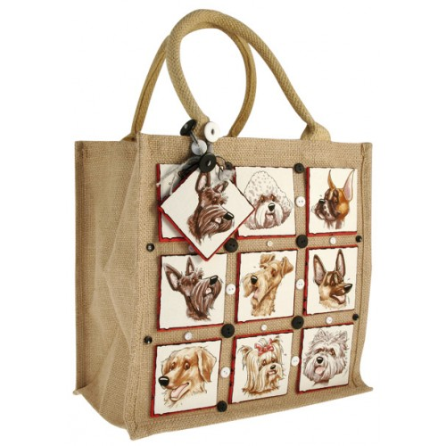 Short Handle Green Hessian Jute Bag