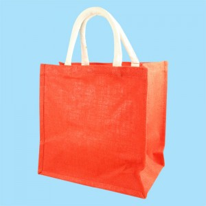 Short Handle Red Hessian Jute Bag