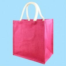 Short Handle Pink Hessian Jute Bag