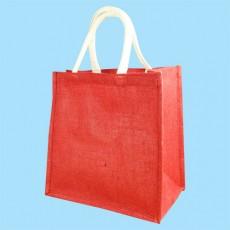 Short Handle Dark Red Hessian Jute Bag