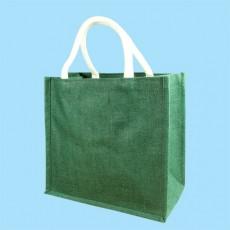 Short Handle Teal Hessian Jute Bag