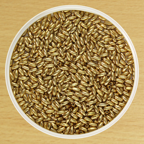 6mm Oat Bead Gold