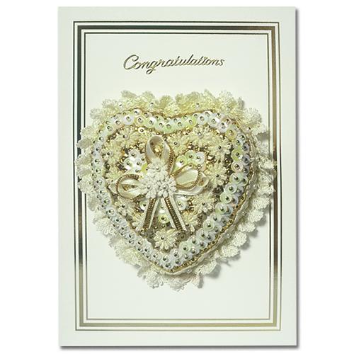 Congratulation Heart Cream/Gold