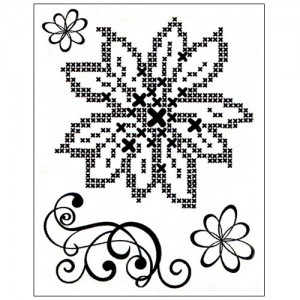 Stamp set: Cross Stitch Flower and Swirl