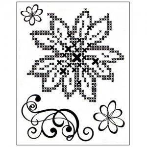 Stamp set: Cross Stitch Flower and Swirl