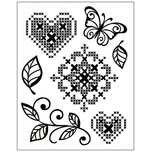 Stamp set: Cross Stitch Flower, Heart and Butterfly