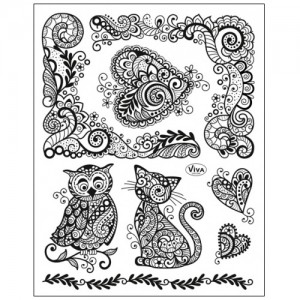 Stamp set: Paisley Style Owl, Cat and Heart