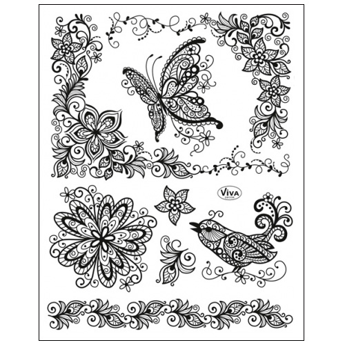 Stamp set: Stamp set: Paisley Style Bird, Butterfly and Flowers