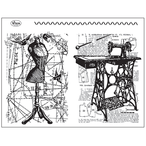 Stamp set: Sewing Machine and Dress Makers Doll