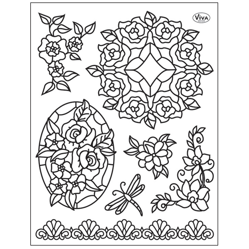 Stamp set: Tiffany-Style Flowers and Border