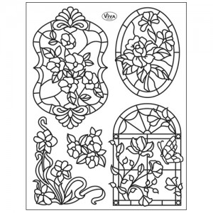 Stamp set: Stamp set: Tiffany-Style Flowers and Butterfly