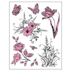 Stamp set: Flowers and Butterflies